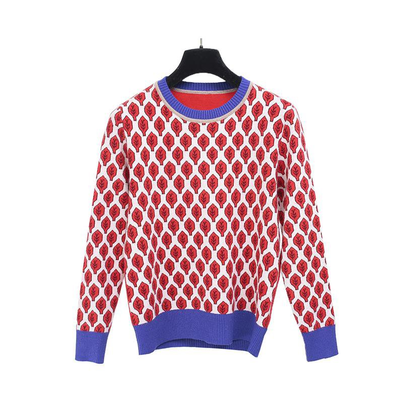 Women New vintage red leaf Jacquard warm sweaters long sleeve o neck pullovers winter knitted retro tops-SWEATERS + CARDIGANS-SheSimplyShops