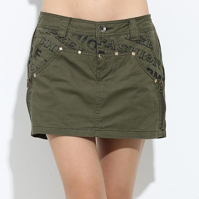 Special Offer Girls Shorts Skirts Casual Saias Jupe Skirts Shorts Ladies Military Army Green Cotton Skirt Shorts-SKIRTS-SheSimplyShops