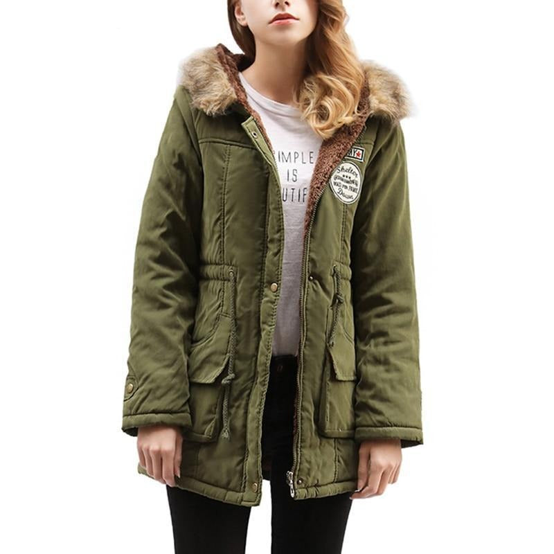 Duzeala Parkas Women Coats Fashion Autumn Warm Winter Jackets Women Fur Collar Long Parka Plus Size Hoodies Cotton Outwear-SheSimplyShops