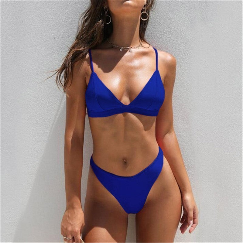 Summer Bikini Set Swimwear Women Solid Beach Wear Low Waist Biquini Badpak Dames