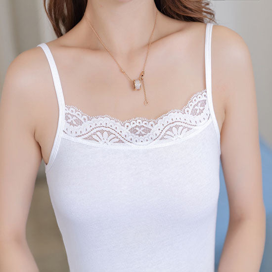 Cotton Simple Solid Color Lace Knitting Sling Tank Vest Summer Sleeveless Shirt Tops For Women Ladies FS0594