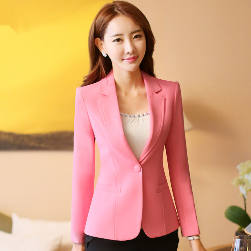 Plus Size 4XL Spring Jacket Female Coats Blazer Feminino Long Sleeve One Button Women Small Suit Jackets Office Blazers C2854