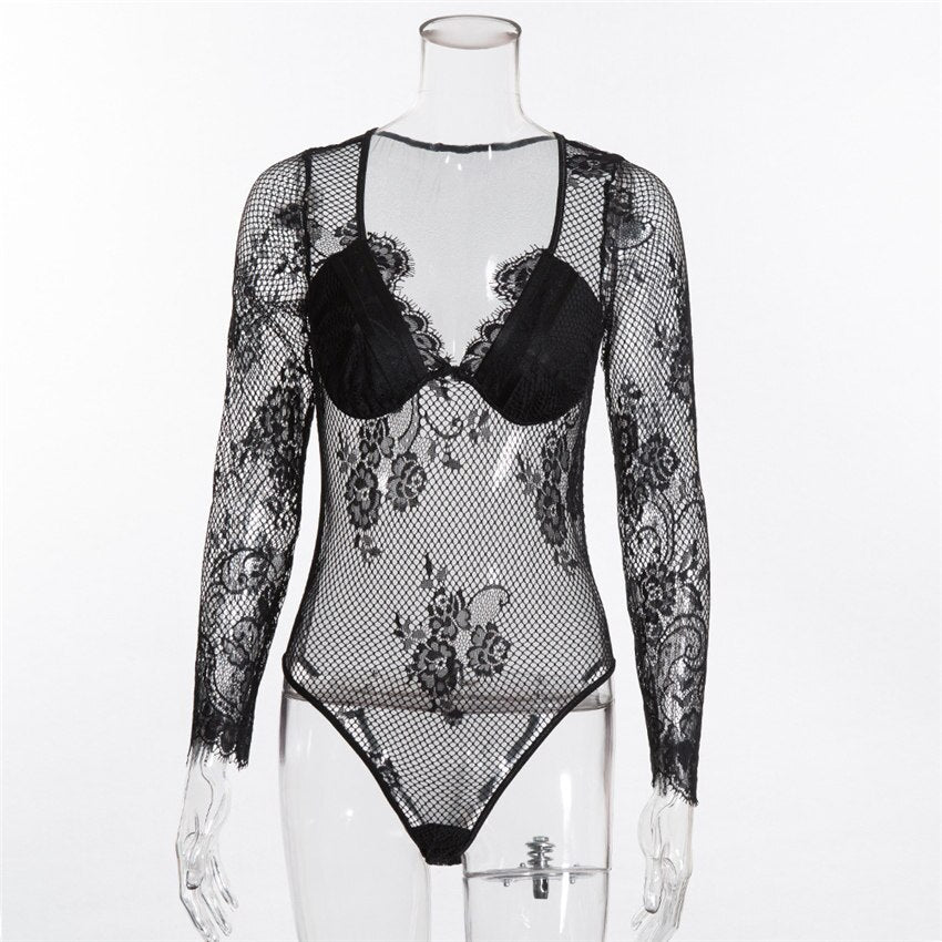 Gagaopt High Lace Bodysuit Women Floral Embroidery Bodysuit Long Sleeve Jumpsuit Overalls