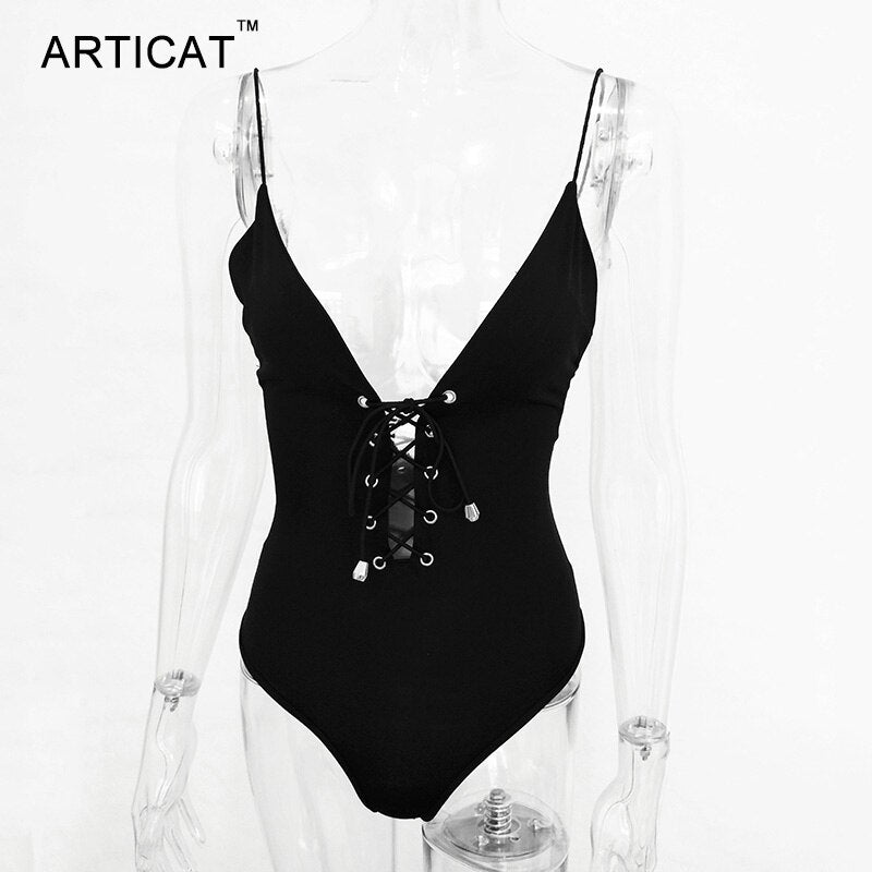 Articat Lace Up Bodysuit Women Summer Tops Spaghetti Strap V Neck Backless Rompers Womens Jumpsuit Party Bodycon Overalls