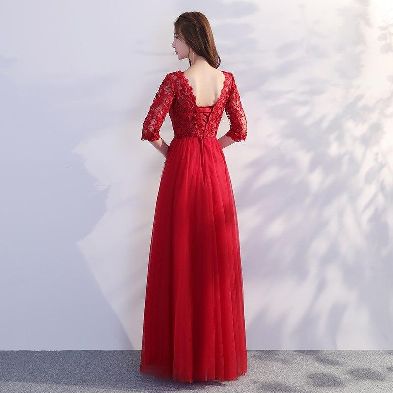 ABE125D#Toast bride 2019 new spring wine red Evening dresses long party prom dress cheap wholesale cheap women clothing girl