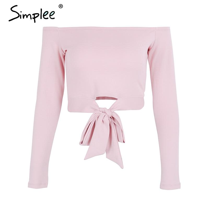 Sexy Off Shoulder Tie Up White Crop Tops Female Long Sleeve Cropped Women Casual Bow Autumn Street Wear Shirt Ladies Tops-SHIRTS-SheSimplyShops