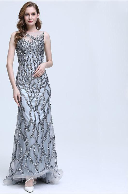 Grey Sleeveless Mermaid Sparkly Sexy Evening Dress Crystal Sequined Luxury Evening Gowns-Dress-SheSimplyShops