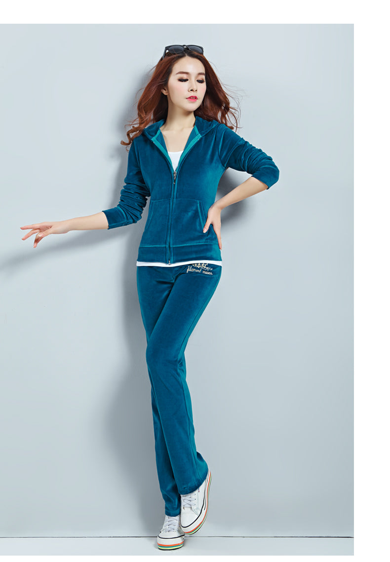 Velvet Sweat Suits Women Leisure Sportswear Hoodies Tops and Sweat Pants Set