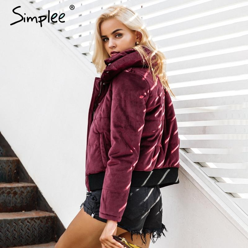Velvet cotton padded basic jacket coat Women warm wine red parkas jackets female autumn winter casual outerwear-Bottoms-SheSimplyShops