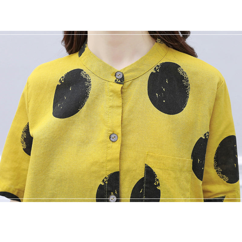 Yellow two pieces summer set 2019 summer womens outfits pant suits ladies plus size polka dot tops linen tracksuit clothing