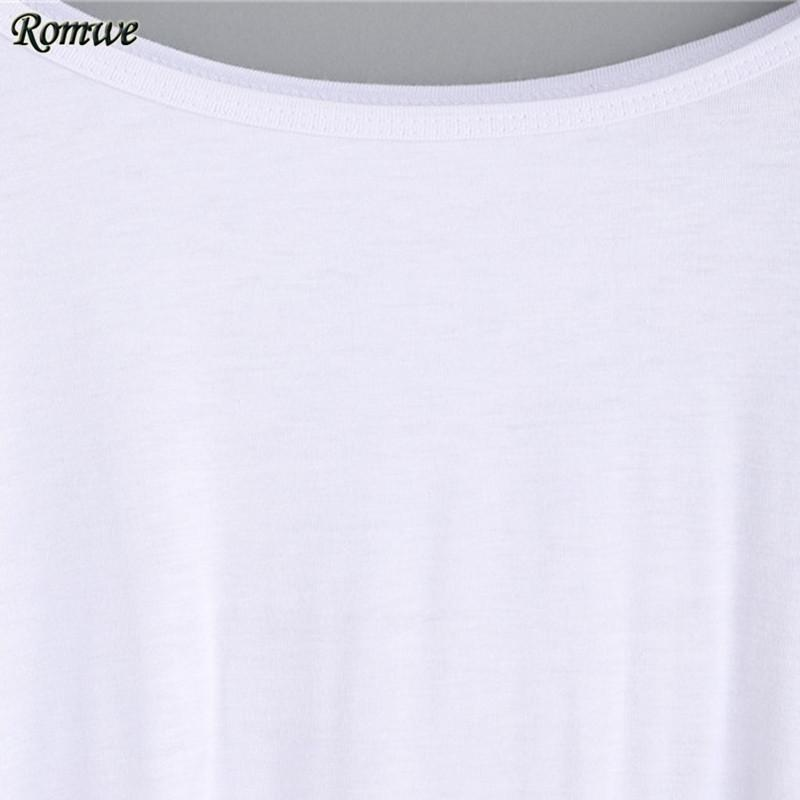 Autumn Women Tee Shirts Ladies Casual Plain White Round Neck Long Sleeve Drop Shoulder High Low T-shirt-Bottoms-SheSimplyShops