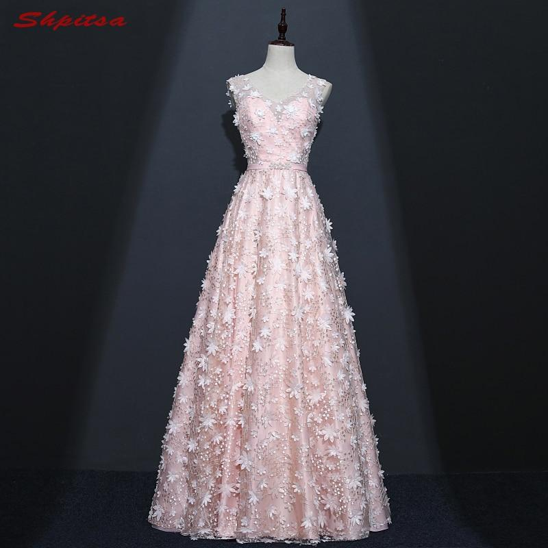 Cheap Pink Long Lace Evening Dresses Party A Line Beautiful Women Tulle Beaded Prom Formal Evening Gowns Dresses On Sale