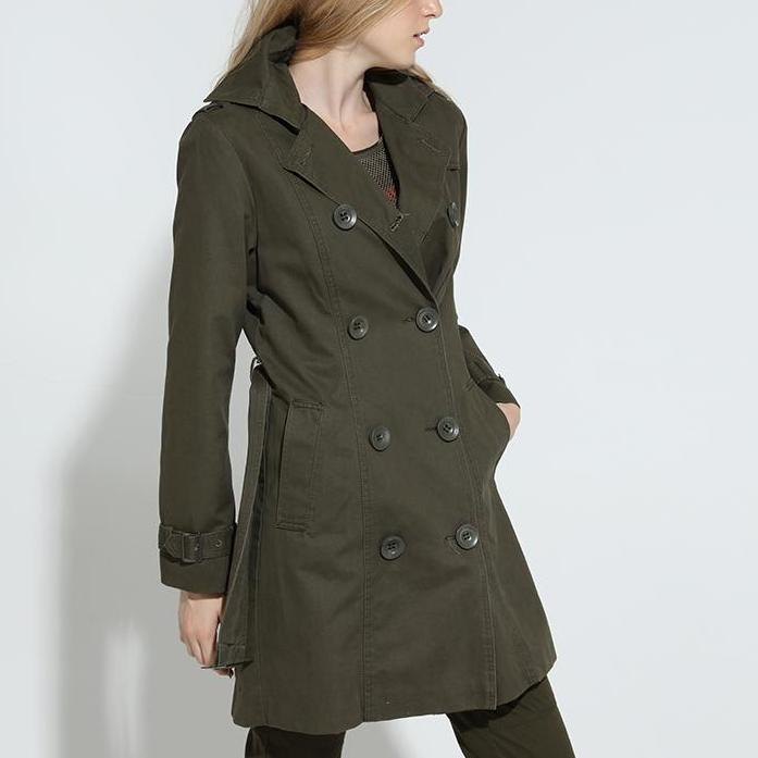 Autumn Fashion Long Trench Women Coat Spring Coats Casual Cotton Army Green Trench Women Outerwear-Coats & Jackets-SheSimplyShops