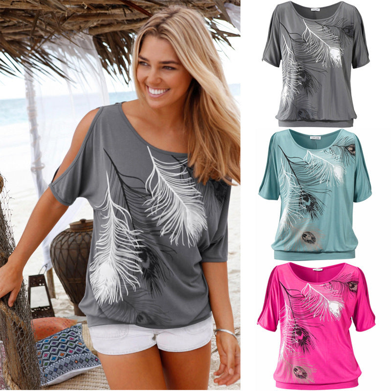 Slit Sleeve Cold Shoulder Feather Print Women Casual Summer T Shirt Girl 2016 Tee Tshirt Loose Top T-Shirt