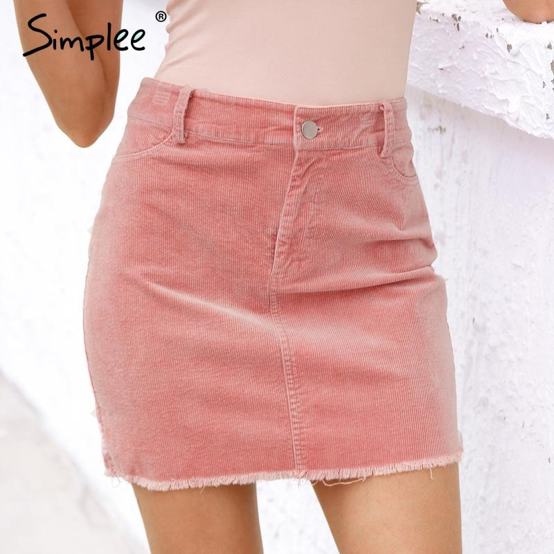 Vintage corduroy pink pencil skirt Fashion street wear metal button zipper short skirt New mini skirts women-SKIRTS-SheSimplyShops