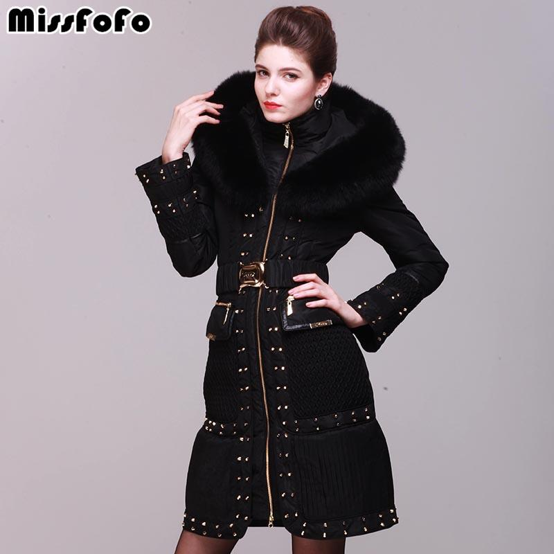 Women's Down Coats Royal Cat Jackets High Quality Rivet Slim Real Fox Fur Luxury Down Coat Female Parka -30 Coat-Coats & Jackets-SheSimplyShops