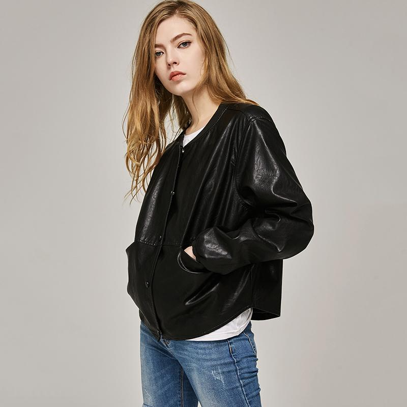 Autumn Leather Jacket Women Casual Long Sleeve Button Slim Coat Fashion PU Leather Bomber Jacket-Coats & Jackets-SheSimplyShops