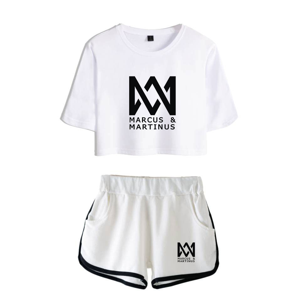 Frdun Tommy Marcus & Martinus Leisure Suit Soft Round Collar T-shirt O-neck and Short Pants Kpop 2018 New Style Casual Clothes
