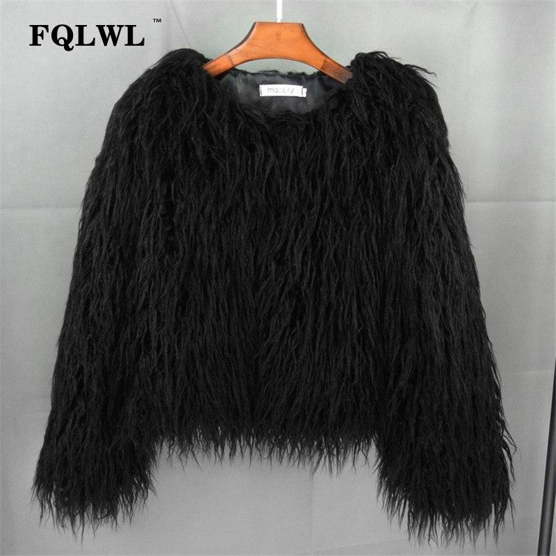 FQLWL Colorful Warm Faux Women Fur Coat Plus Size Black White Pink Plush Coat Female Jacket Fur Autumn Winter Shaggy Outerwear