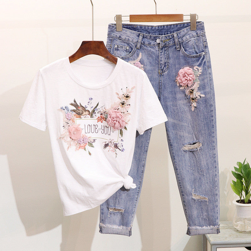 LUOSHA Women 2Pcs Summer Stylish Embroidery 3D Flower Short Sleeved Tshirt+Heavy Work Jean Rippered Hole Denim Pants Suit