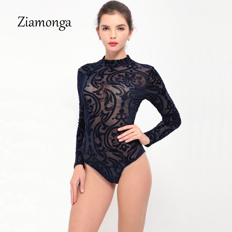 Ziamonga Bodysuit Jumpsuit Romper Women Black White Hollow Long Sleeve Mesh Bodycon Jumpsuits Stretch Body Femme