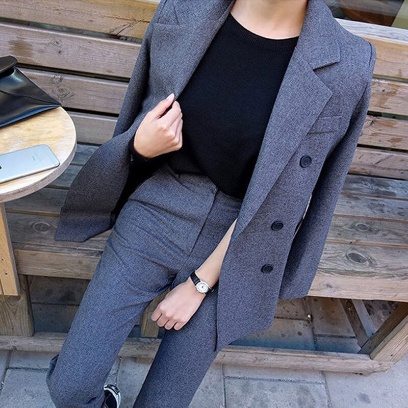 Business Pant Suits Uniform Formal Double Breasted Jacket and Long Pant Black Blazer Set Women OL 2 Two Pieces Suits