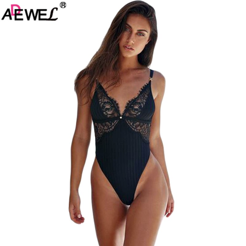 ADEWEL Women Sexy Bodysuit Black Adjust Sleeveless Triangle Bodysuit Scalloped Lace Cup Soft Stretch Body Lace Teddy Bodysuit