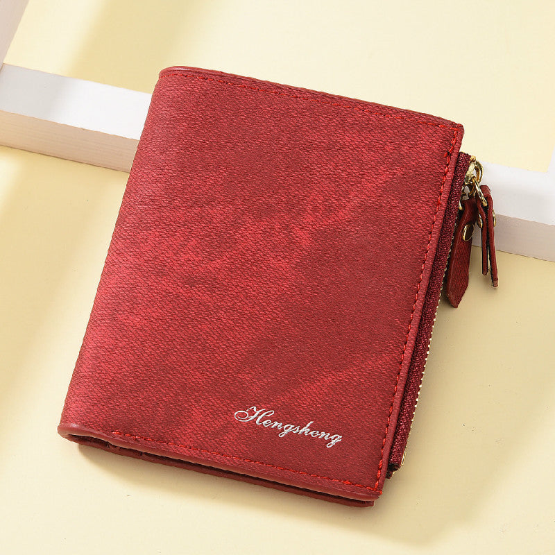 Women Wallets Small Wallet PU Matte Leather Purse Short Female Coin Wallet Zipper Clutch Purse Credit Card