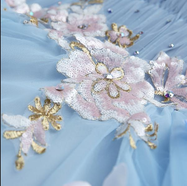 Sweet Light Blue Flower Fairy Princess Prom Dress Transparent Long Sleeves Sequined Party Ball Gown-Dress-SheSimplyShops