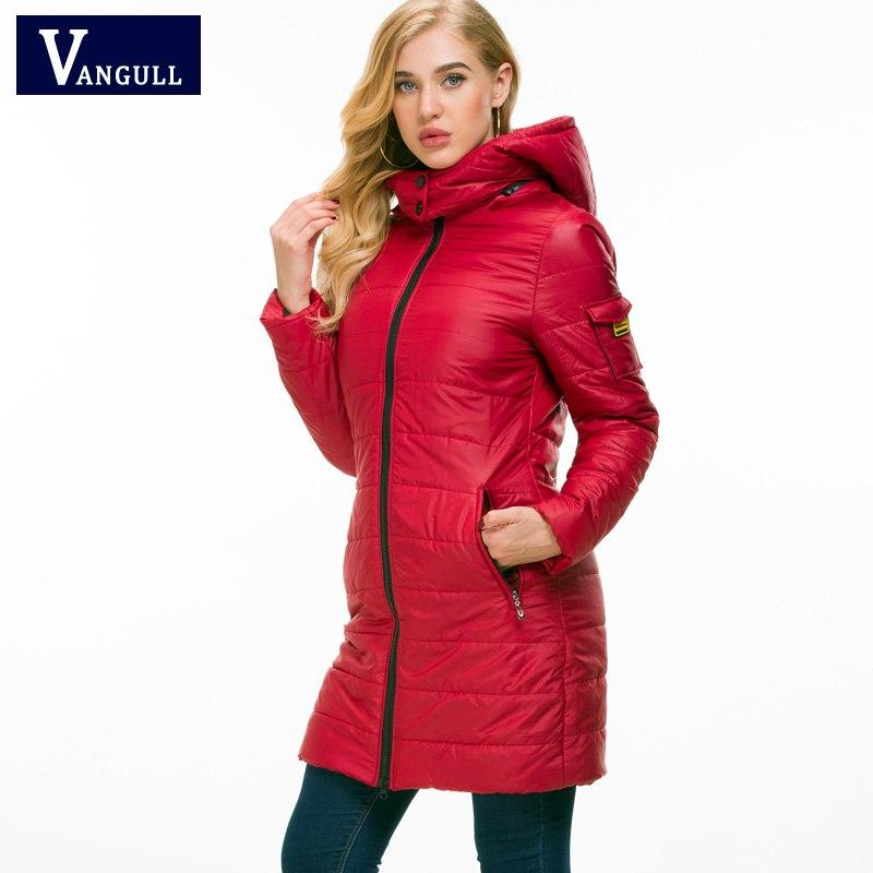 Vangull Women Cotton Winter Jacket Long Parka Thick Cotton Padded Lining Winter Coat Ladies Women Slim Hooded outerwear