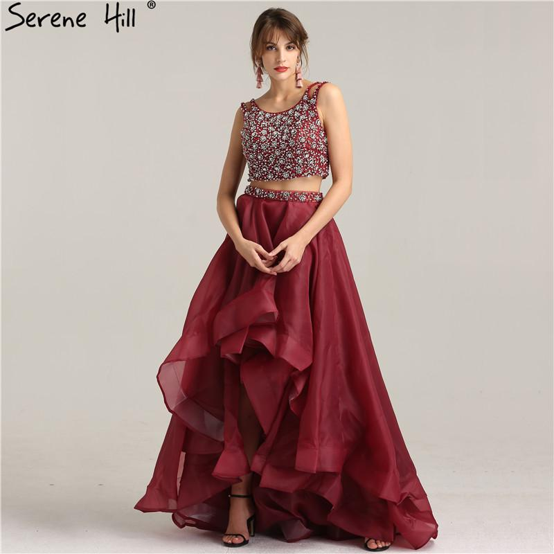 Two-Piece Fashion Sexy A-Line Evening Dress Sleeveless Diamond Formal Evening Dress-Dress-SheSimplyShops