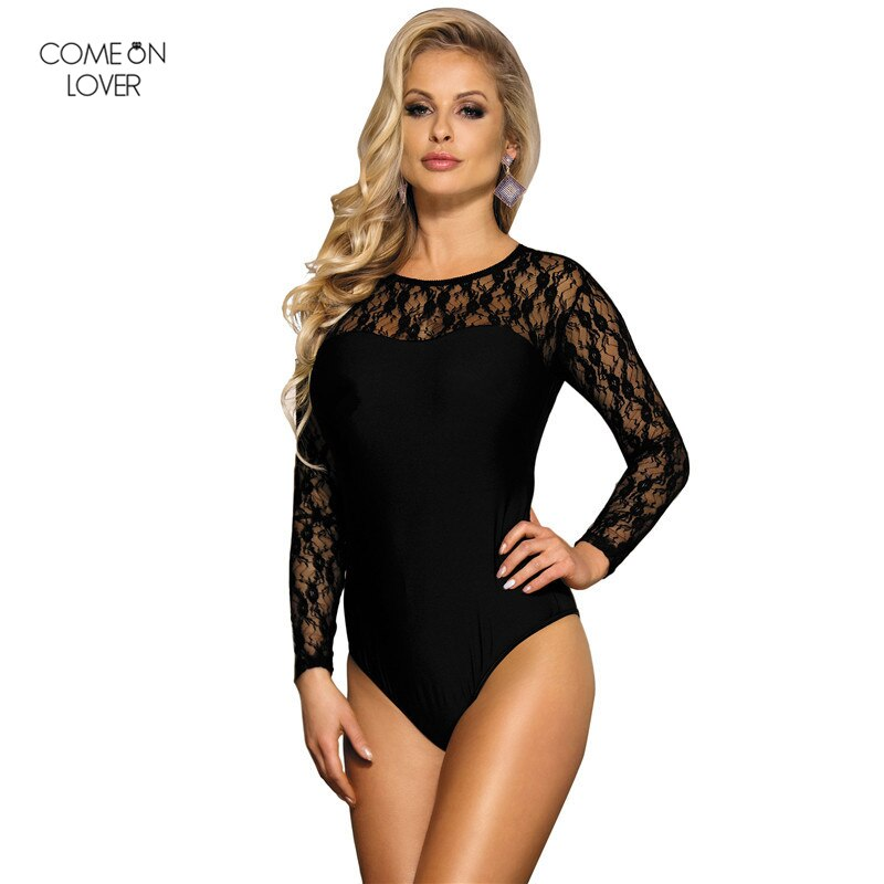 Comeonlover Dance Pole Pyjama Hiver Femme Elegant Jumpsuits for Women 2017 RT8037 Sexy Fashion Hot Black Long Sleeve Bodysuit