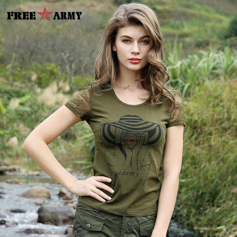Summer Women's T shirts Military Camouflage Clothing Printed Tees Lace Sleeve Novelty T-Shirt Tops Army Green Tees-SHIRTS-SheSimplyShops