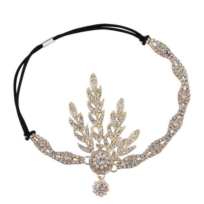 1920s Vintage Bridal Headpiece Costume Hair Accessories Flapper Great Gatsby Inspired Leaf Medallion Pearl Headband-ACCESSORIES-SheSimplyShops