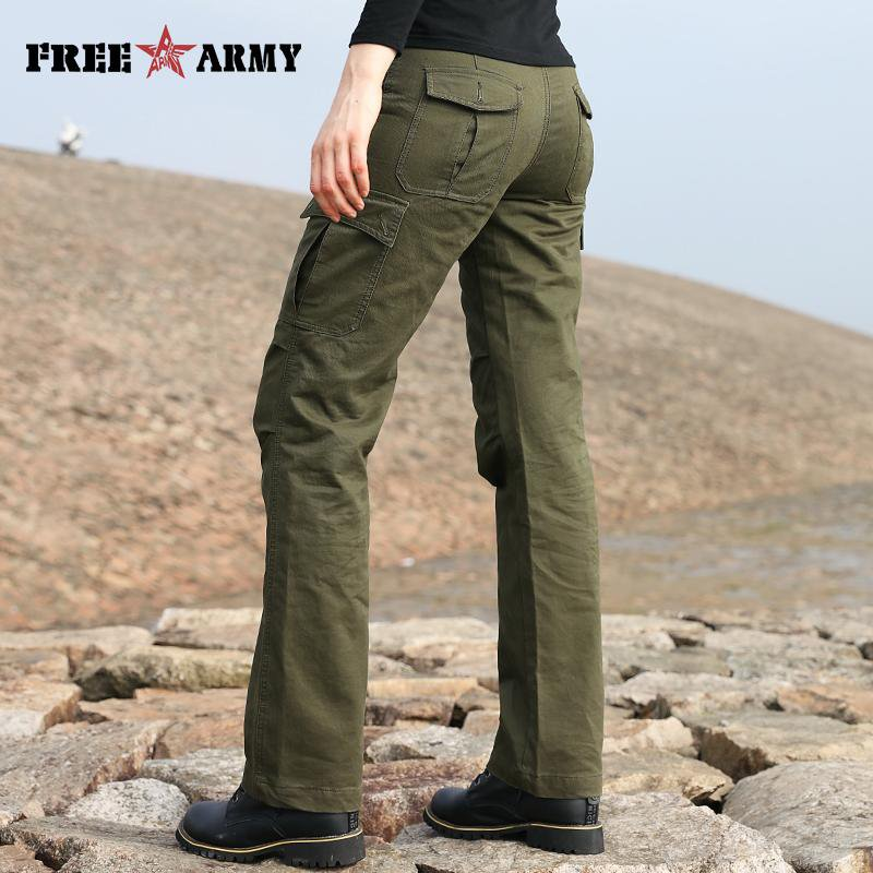 New Design Women's Cotton Pants Army Green Loose Flare Pants Pockets Ladies Trousers Women Pants-PANTS-SheSimplyShops