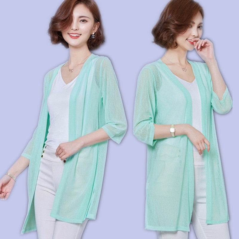 Women Blouse 2019 Summer Kimono Cardigan Blouses Shirts Plus Size Chiffon BLouse Casual Beach Shirt Sunscreen Clothing Blusas