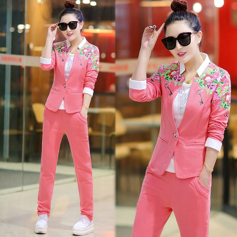 Cheap women set 3 piece casual full sleeve blue pink Work clothes Top +vest+pants three piece set plus size5XL Quality Assurance