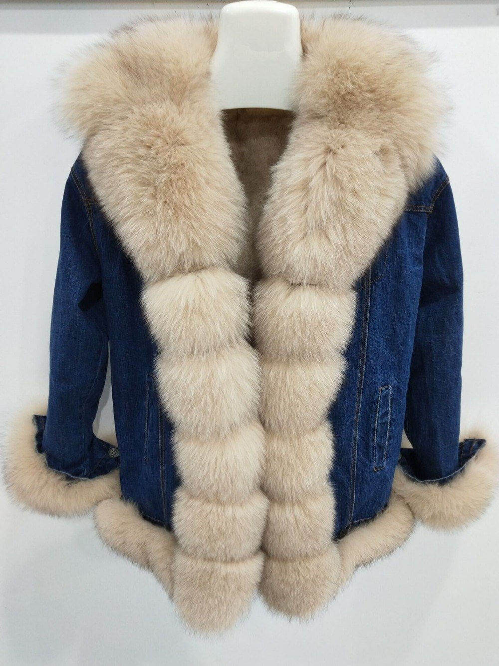 New brand Real Fur Real Rex Rabbit Fur Lining Women Winter Genuine Fox Fur Collar   Jacket Woman Warm Coat