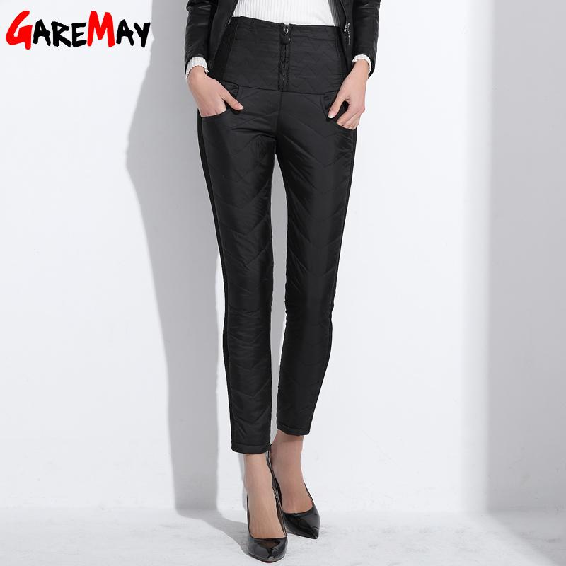 Down Pants Warm Women Elegant Trousers Elastic Waist Winter Thicken Pencil Pants High Waist Office Pants For Women-PANTS-SheSimplyShops