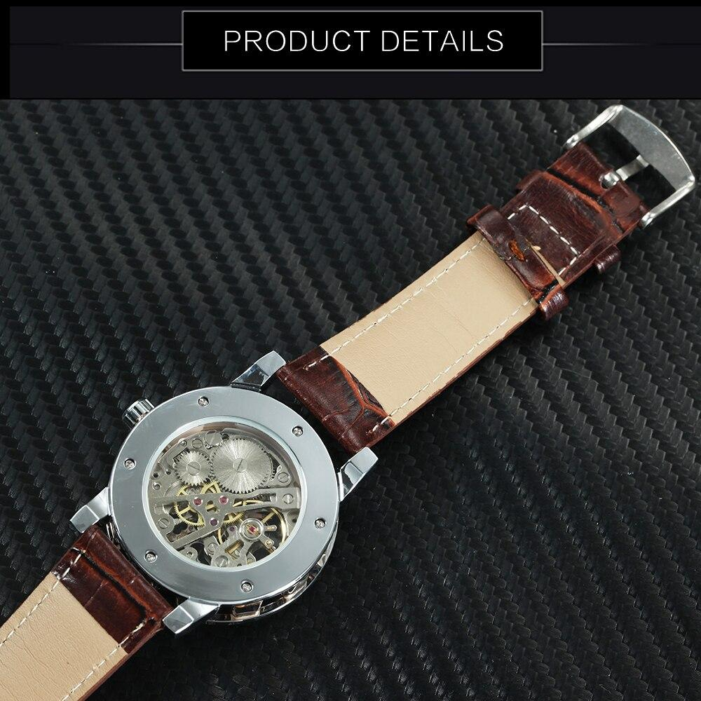 Fashion Ladies Watch Top Brand Luxury WINNER Unisex Mechanical Wrist Watches for Men Hand-wind Roman Number Leather montre femme