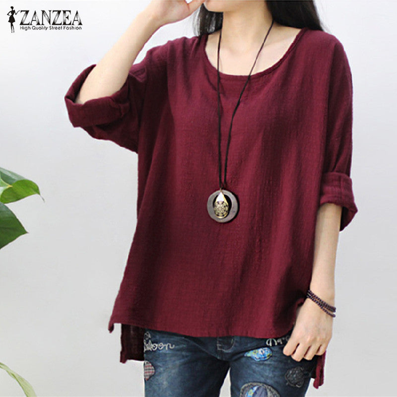 ZANZEA 2019 Womens Retro O Neck Long Sleeve Split Baggy Cotton Linen Casual Loose Solid Party Tops Kaftan Shirt Blouse Plus Size
