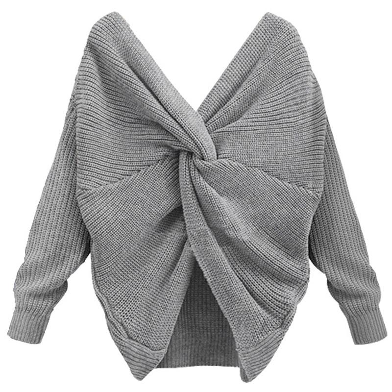 Deep V Neck Tie Up Sweater Women Backless Sexy Cross Solid Pullover Loose Irregular Knitted Jumper-SWEATERS + CARDIGANS-SheSimplyShops