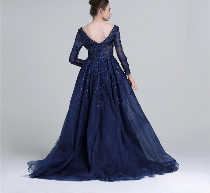 Dark Blue Deep V Tulle Evening Dresses Newest Long Sleeve Appliques Sequined Evening Gowns-Dress-SheSimplyShops