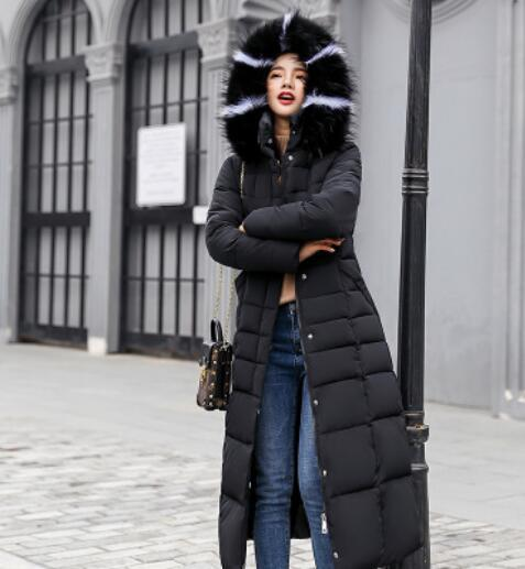 Hooded Fur Collar Winter Down Jacket Long Warm Women Cotton-padded Casaco Feminino Abrigos Mujer Invierno Parkas Outwear