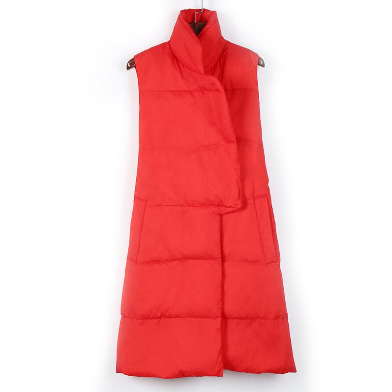 New Fashion Down Vest Female Sleeveless Thermal Slim Medium-long Covered Button Solid Pocket Black Red-VESTS-SheSimplyShops