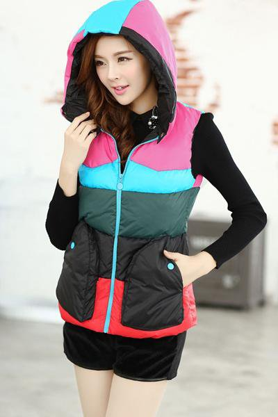 women's cotton wool collar hooded down vest with hat high quality female winter warm Jacket&Outerwear Thicken