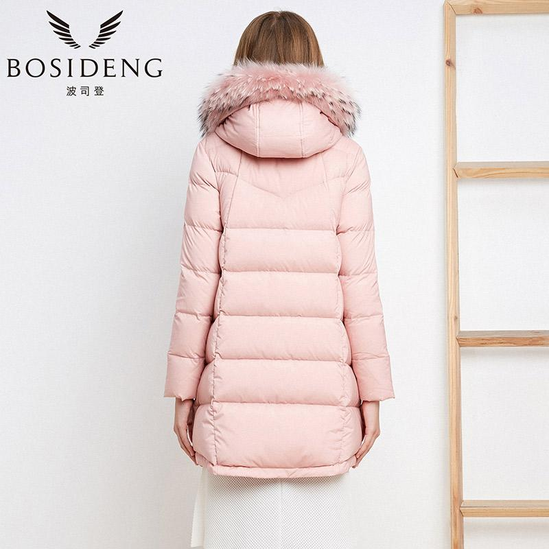New women down coat mid-long duck down jacket real big real fur collar hood parka pink lady high quality-Coats & Jackets-SheSimplyShops
