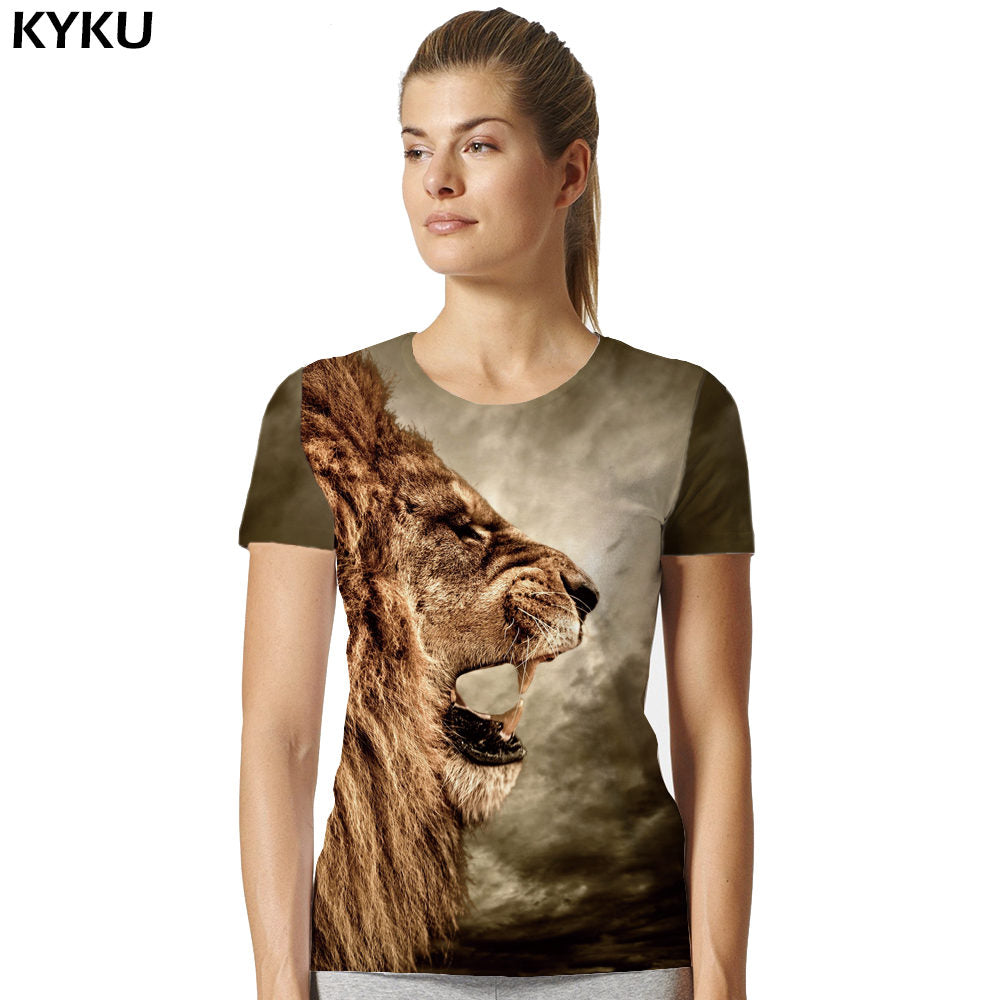 Lion T Shirt Universe Sky Galaxy Women Short Sleeve 3d T-shirts Print Anime T-shirt Animal Womens Clothing Top Tee
