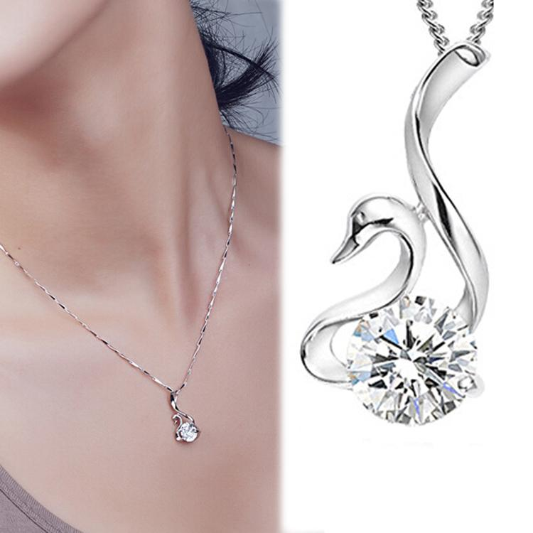 Accessories Rhinestone Inlaid Swan Shaped Woman Pendant Necklace Without Chain Color White Charming Jewelry-NECKLACES-SheSimplyShops