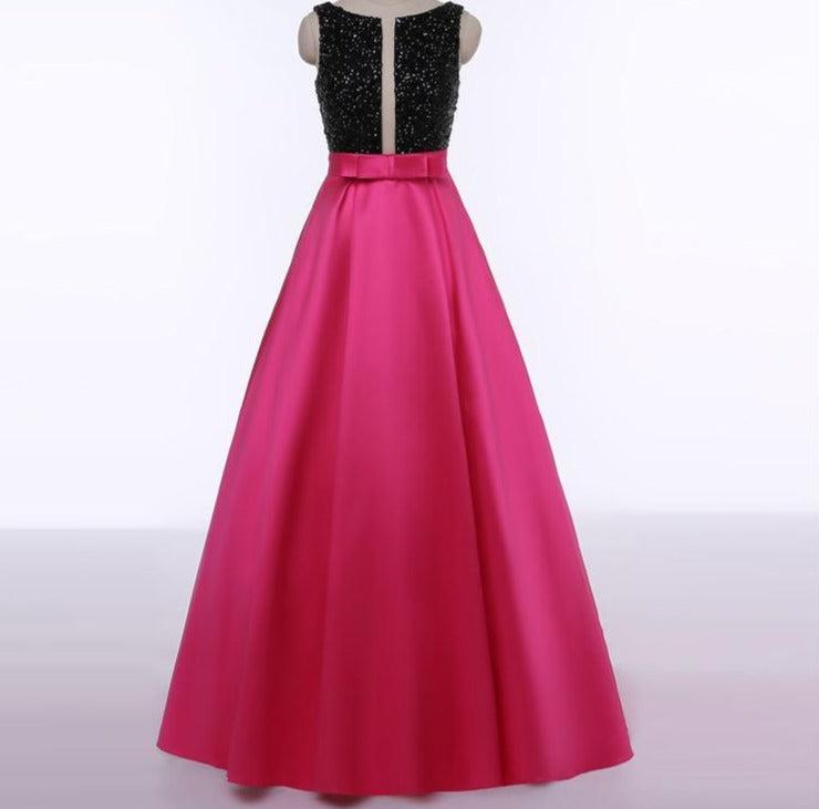 New Rose Red Sleeveless Satin Prom Dress Long Beading Backless Sexy Evening Party Dress-Dress-SheSimplyShops